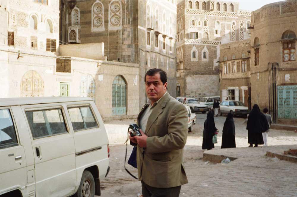 Jacques Grué dans une rue de Sana'a-Yémen