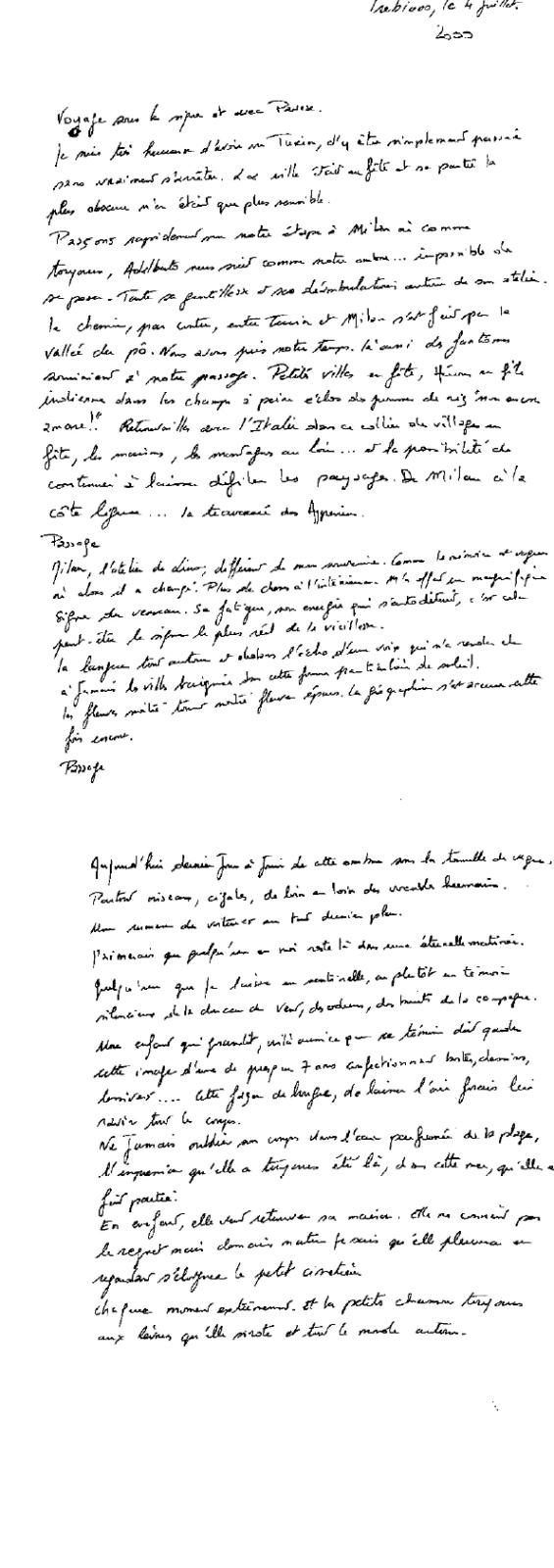 texte manuscrit écrit à trebiano en Italie